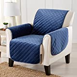 Great Bay Home Modern Velvet Furniture Protector. Stain Resistant, Durable, Machine Washable. Perfect for Pets, Dogs & Kids (Chair, Dark Denim Blue)