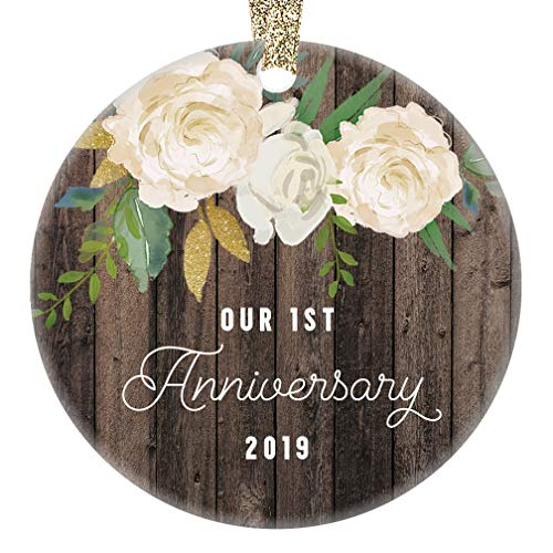 1st Year Anniversary Gifts First Christmas Married Ornament 2019 Newlywed Wedding Marriage Couple Him Her Keepsake Rustic 3 Flat Circle Porcelain