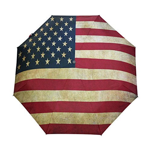 American Flag Umbrella - WOZO Vintage American Flag 3 Folds Auto Open Close Umbrella