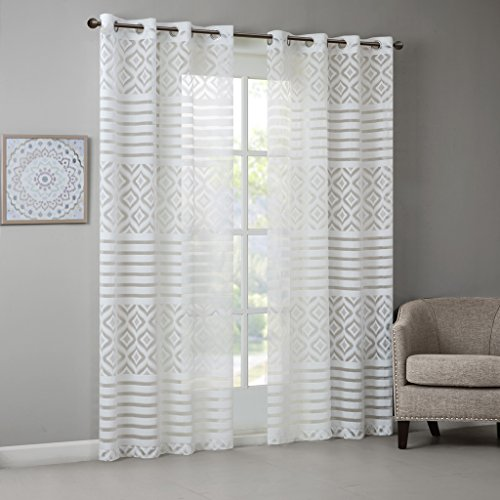Darlene Geo Burnout Sheer Window Panel White 84  Panel