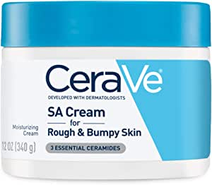 CeraVe SA Cream, 12 Ounce, Renewing Salicylic Acid Body Cream for Rough and Bumpy Skin, Fragrance Free