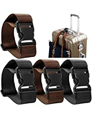 CoWalkers Agregar una bolsa Correa de equipaje, Correas de la correa de la maleta de viaje ajustable Accesorios para viaje y viaje - 4 PCS(Negro/Marrón)