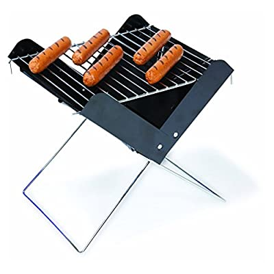 Portable Folding Charcoal BBQ Mini Grill with Carrying Tote: Sports & Outdoors