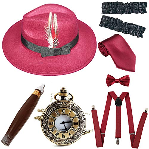 1920s Trilby Manhattan Fedora Hat, Plastic Cigar/Gangster Armbands/Vintage Pocket Watch, Burgundy ()
