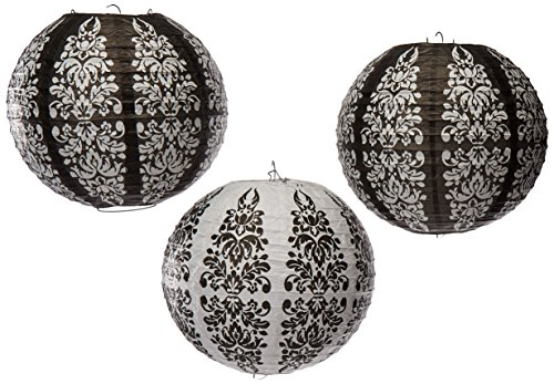 Black Damask Paper Lanterns Party Accessory (3 PCs)
