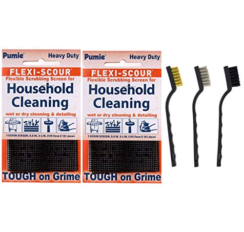 (Pumie Heavy Duty Flexi-Scour Scouring Screens & 3 Piece Detail Wire Brush Set)