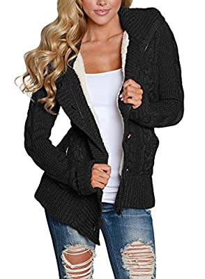 Astylish Women Button Down Long Sleeve Basic Soft Knit hooded Cardigan Sweater