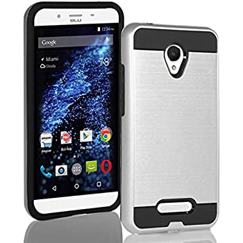BLU Studio X8 HD case, {NFW} Tough Hybrid + Dual Layer Shockproof Drop Protection Metallic Brushed Case Cover for Studio X8 HD (S530) (VGC Silver)