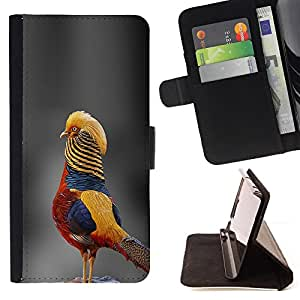 BullDog Case - FOR/Apple Iphone 5 / 5S / - / grey blurry nature tropical bird yellow /- Monedero de cuero de la PU Llevar cubierta de la caja con el ID Credit Card Slots Flip funda de cuer