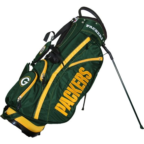 Team Golf NFL Green Bay Packers Fairway Golf Stand Bag, Lightweight, 14-way Top, Spring Action Stand, Insulated Cooler Pocket, Padded Strap, Umbrella Holder & Removable Rain Hood - Fairway Stand Carry Bag