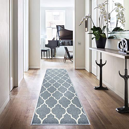 Trellis Area Rug Doormat Runner Rug Moroccan Tile Floorcover Indoor Outdoor Mat Charcoal Grey 7'x 2'2