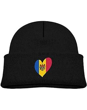 Cute Moldova Flag Heart Printed Infant Baby Winter Hat Beanie