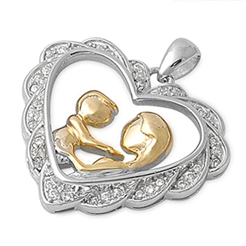 (Gold-Tone Heart Pendant Clear CZ .925 Sterling Silver Mother Child Charm - Silver Jewelry Accessories Key Chain Bracelet Necklace Pendants)