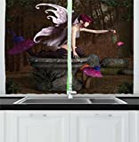 Ambesonne Fairy Kitchen Curtains, Three Dimensional Mythical Creature Design with Magical Artifact on Pedestal Forest, Window Drapes 2 Panel Set for Kitchen Cafe, 55 W X 39 L Inches, Multicolor Review