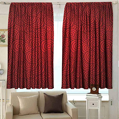 AFGG Outdoor Patio Curtains Red Swirl Lines Spirals Abstract Design with Chinese Culture Influences for New Year Celebration for Patio/Front Porch 55 W x 72 L Inches Red