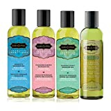 Kama Sutra Massage Oils, (8 Oz) - (Set of 4) Aromatic With Afterglow Cleansing Wipe