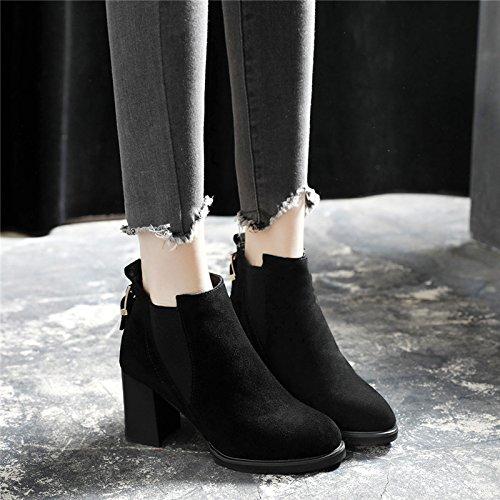 Khskx Grueso El De Zapatos Botas hembra Británico Estilo Black Invierno Martin Tacon Con Botín rpRUr1