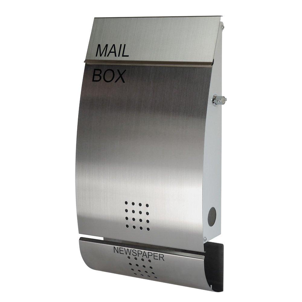 EUROデザイナーズポスト MB4502 レバータイプ鍵付き ステンレス 新聞受け有 郵便ポスト 郵便受け MB4502-KL-stainless 7 B00KYK80GW 22000  4502 扉:ステンレス / 本体:オフホワイト