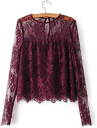 DEELIN Camisa De Encaje Transparente Transparente Vintage De Mujer ...