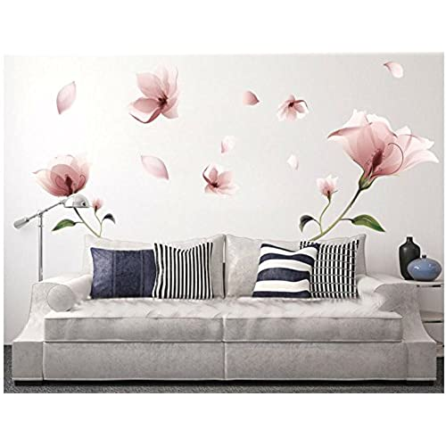 Amazing Sworna Nature Series 36 X 80 Inch 3D Pink Flowers Removable Vinyl Mural Wall  Decal, Pink/Green