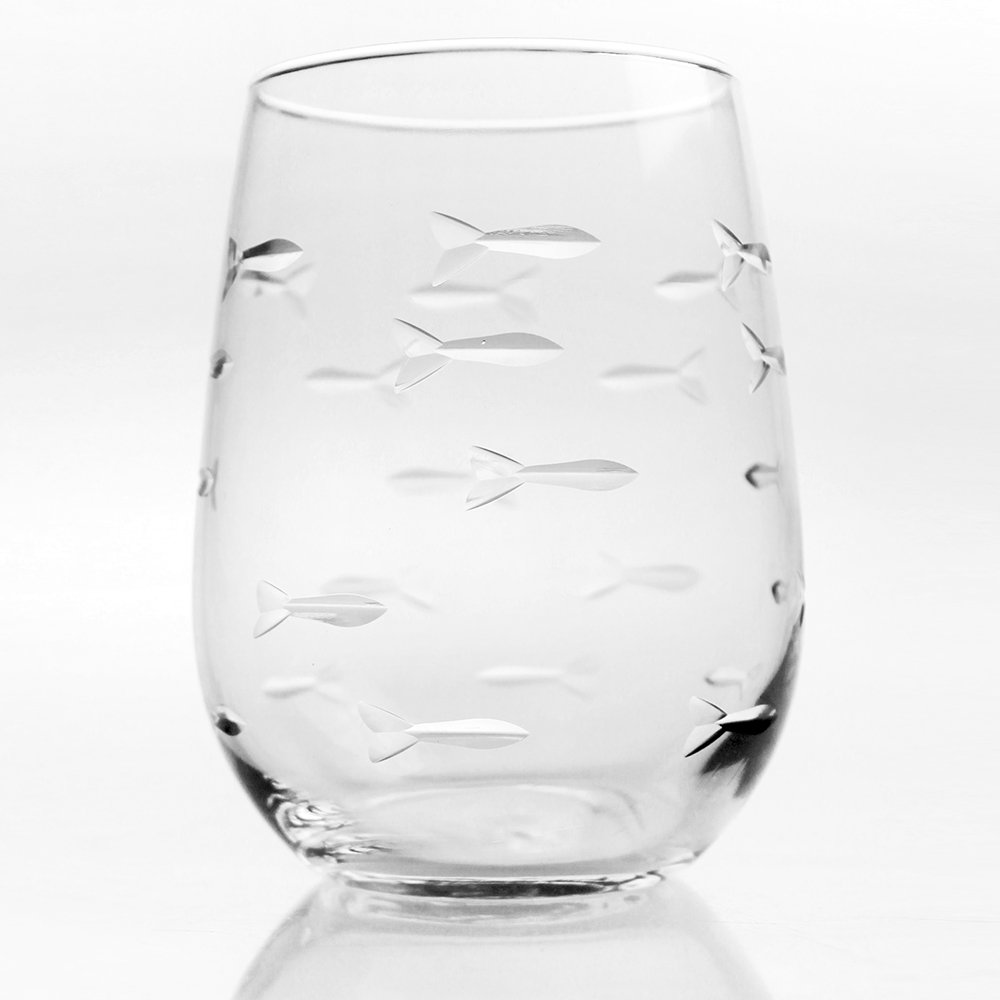 School of Fish Red Wine Tumbler Glasses Set of 4 17 Ounce
