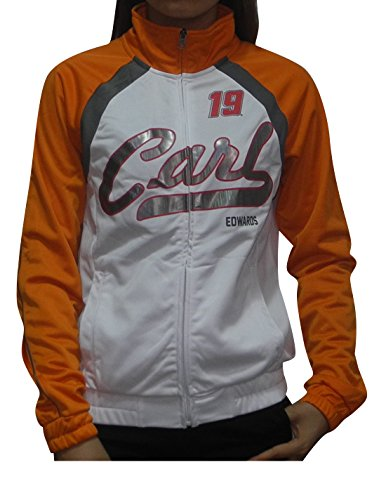 NASCAR Carl Edwards #19 Womens Athletic Zip-Up Track Jacket (FOIL Print) XL White (Carl Edwards Best Tracks)