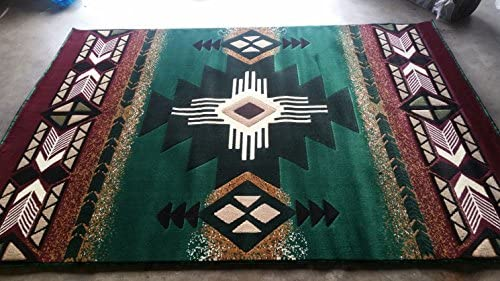 Concord Global Trading Southwest Native American Area Rug Hunter Green Design C318 8ftx10ft