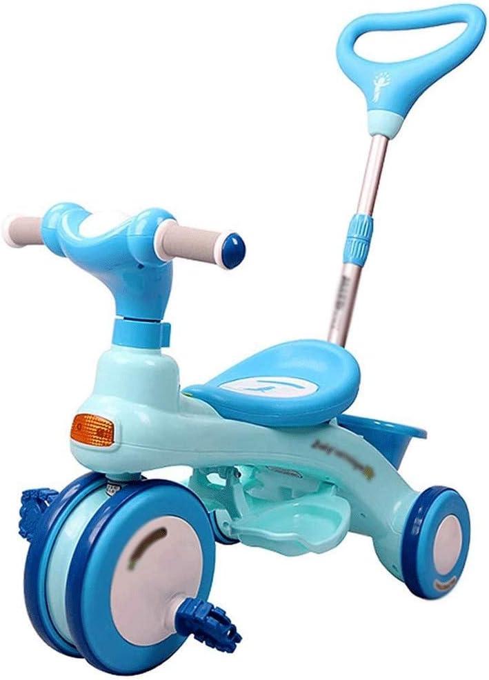 ZQY Triciclo de niños de Moda de la Bicicleta Trolley niños y niñas Bicicletas 1-5 años Los niños al Aire Libre portátil triciclos fácil de Llevar (Color : B)