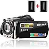 Camcorders,Kenuo 1080P 24MP HD WiFi Digital video Camera, 3.0TFT LCD IR Night Vision 16X Digital Zoom Stabilization 270 Degree Rotation Screen Camera Bag Lithium Battery