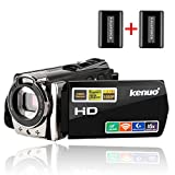 Camcorders,Kenuo 1080P 24MP HD WiFi Digital video Camera, 3.0''TFT LCD IR Night Vision 16X Digital Zoom Stabilization 270 Degree Rotation Screen Camera Bag Lithium Battery