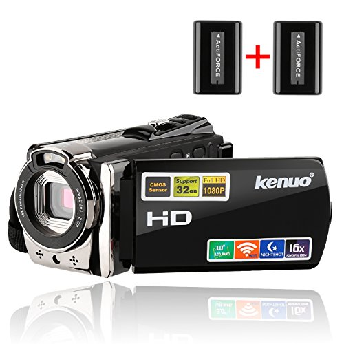 "Camcorders,Kenuo 1080P 24MP HD WiFi Digital video Camera, 3.0""TFT LCD IR Night Vision 16X Digital Zoom Stabilization 270 Degree Rotation Screen Camera Bag Lithium Battery"