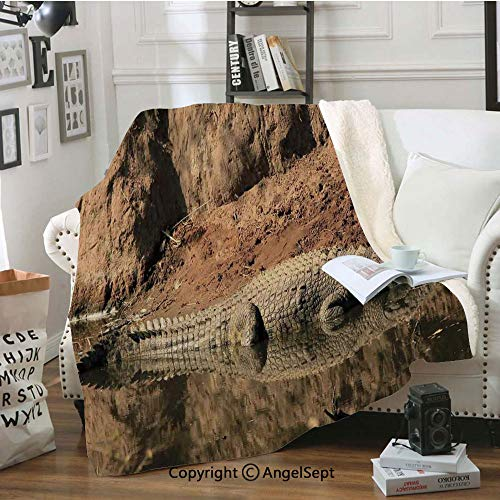 - AngelSept Individuality Blanket,Nile Crocodile Swimming in The River Rock Cliffs Tanzania Hunter Geography,80x60inch,Warm Cozy,Light,Brown Tan