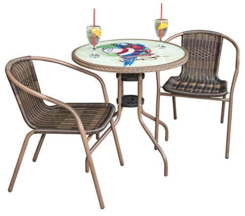 Panama Jack PJO-9001-3PP Café Collection Outdoor Bistro Set, Parrot (Table And Panama Chairs)