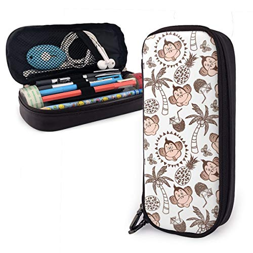Pencil Case Pouch Cute Monkeys Palm Trees Large Capacity Pen Bag Makeup Pouch Durable Students Stationery Pockets with Double - Elephant Palm Tree Monkey