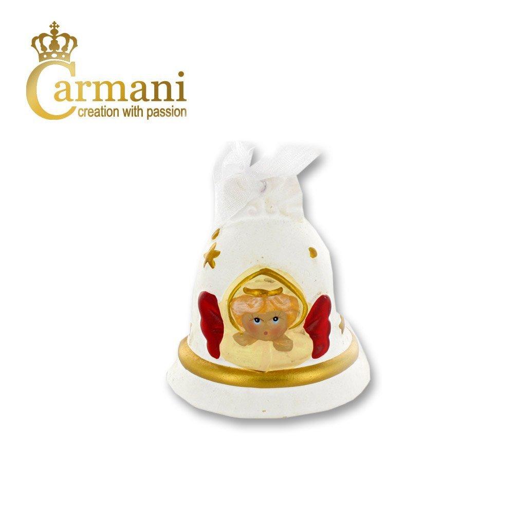 Carmani - Bianco ceramica campana di Natale, ornamento di Natale, addobbi per l'albero con angeli addobbi per l' albero con angeli
