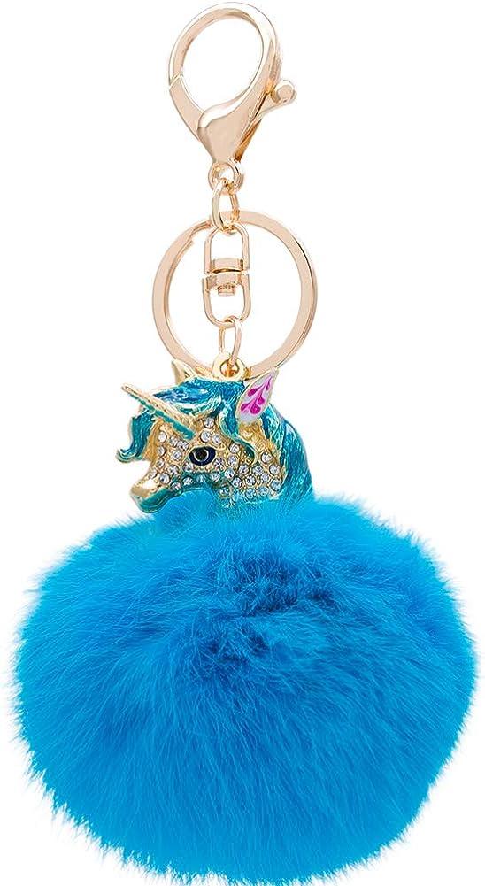 Keychain Car Key Holder Unicorn Key Chain Pompon Fur Ball Pompom Keyring