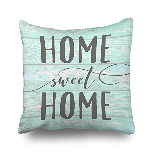 Pakaku Throw Pillows Covers for Couch/Bed 18 x 18 inch,Home Sweet Home Aqua Wood Accent Home Sofa Cushion Cover Pillowcase Gift Decorative Hidden Zipper Cotton and Polyester Summer Beach Sunlight