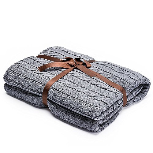 LakeMono 100% Cotton Knitted Throw Blanket, Classic Twist Cable Couch Cover Blanket for Bed/Sofa/Office (Light Grey, 47'' 71'')