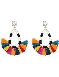 Women's Beaded Tassel Earrings Long Fringe Drop Bohemian Earings Dangle 7 Colors