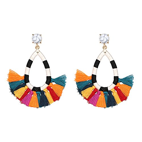 Large Disc Earrings (Women's Tassel Earrings Long Fringe Drop Bohemian Earings Dangle 7 Colors (Rainbow Christmas))