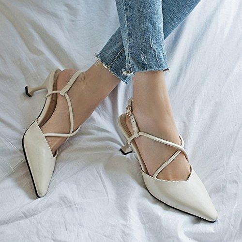 Hebilla Mujer Beige Apuntadas Sandalias Zapatos Verano Jqdyl Tacones Fina tacón de Femeninas alto xnRwfSXa4q