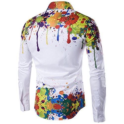 Basic Business Longues Chemises Repassage Encre Slim Clearance Multicolore Fashion T Occasionnels Splash Manches shirt Facile Blouse Top Loisirs Man's Fit Fuibo Homme 3d qwv6Sqzfx