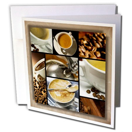 3dRose Coffee Themed Collage - Greeting Cards, 6 x 6 inches, set of 12 (gc_28754_2)