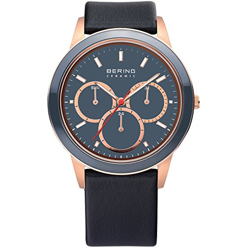 BERING Time 33840-467 Men's Ceramic Collection Watch with Leather Band and scratch resistant sapphire crystal. Designed in Denmark.