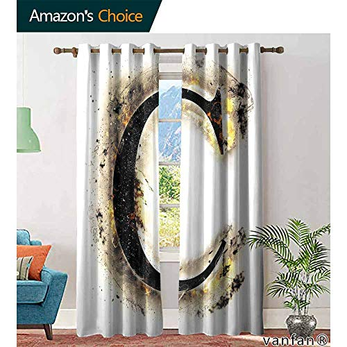 (Big datastore Letter C Blackout Curtains for bedroomLetter C Flaming Backdrop Combusted Alphabet Symbol Paper Effect Writing Room Darkening Curtains W96 x L96 Tan Black Yellow)
