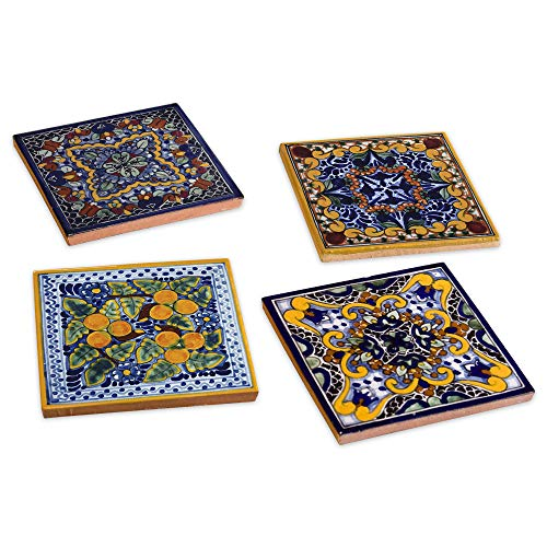 Spanish Garden Hand Painted Ceramic Talavera Tile Coasters (4