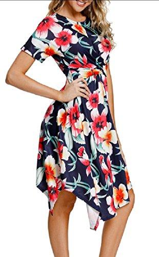 Jaycargogo Femmes Casual Imprimé Floral Manches Courtes Fête Swing Robe Plissée 1