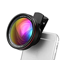 2 in 1 Phone Lens Kit, Opard HD 0.6X Wide Angle Lens and 15X Macro Lens Clip on Phone Camera for iPhone, Samsung, iPad and More