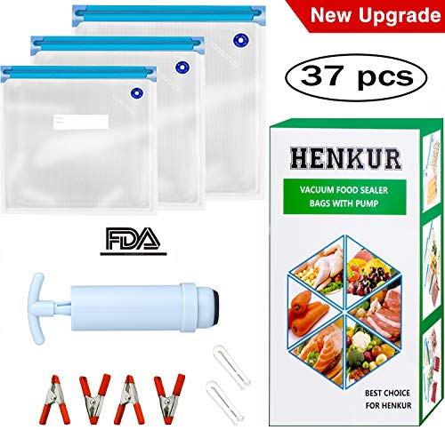 Sous Vide Bags BPA Free Reusable Kit for Anova and Joule Cookers,30 Vacuum Food Storage Bags(3 Sizes),1 Hand Pump and 2 Sealing Clips and 4 Sous Vide Bag Clips for Food Storage and Sous Vide Cooking