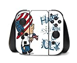 Cute Boy with American Flag Hat Happy 4th of July Quote Celebration Image Design Pattern Nintendo Switch Controller Vinyl Decal Sticker Skin by Trendy Accessories